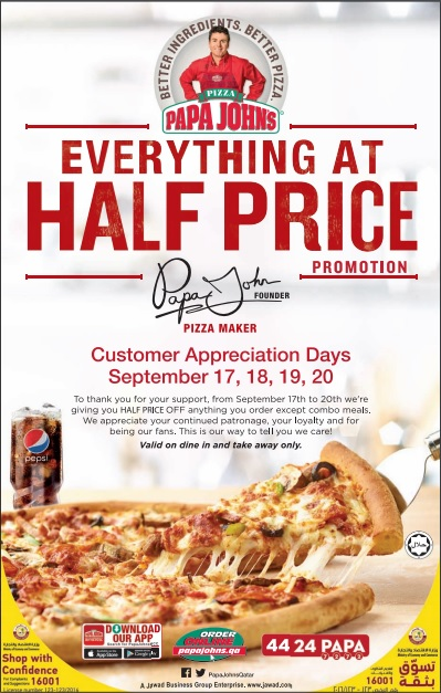 Papa John's Pizza Promo – Pizza @ Half the Price. Valid for Take out Only. Customer must order a small (9 inch/ ) pizza to avail the promo. Choice of 4 flavors; Hawaiian, Simply Cheese, Pepperoni ; Margherita. Not valid in conjunection with any other promo and discounts. This promo is valid until September 15, only.